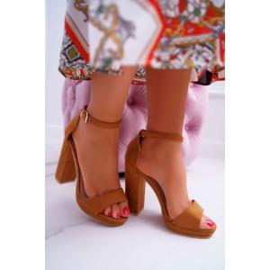 Dámske remienkové sandále na vysokom podpätku v bežovej farbe