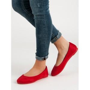Štýlové červené semišové dámske baleríny