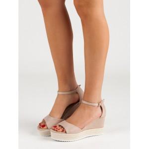 Semišové dámske sandálky v béžovej farbe