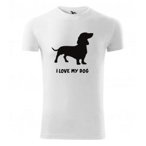Bavlnené tričko s krátkym rukávom s potlačou psíka