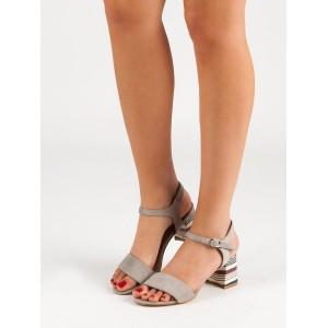 Dámske sandále na vysokom podpätku v béžovej farbe