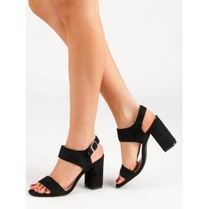 Čierne dámske semišové sandále na opätku módneho dizajnu
