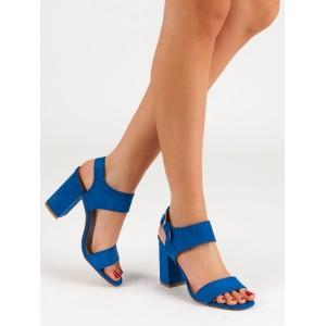 Krásne dámske modré sandále so zapínaním na pracku a módnom opätku