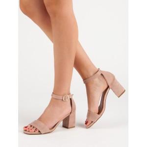 Púdrovo ružové dámske letné sandále s remienkom okolo nohy
