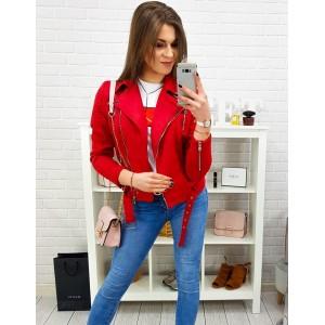 Dámska krátka červená prechodná bunda na zips v motorkárskom štýle