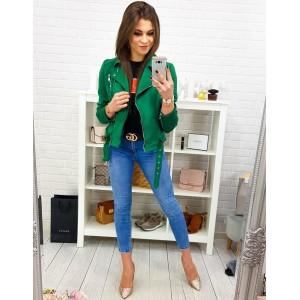 Štýlová jarná bunda so zapínaním na zips v smaragdovo zelenej farbe