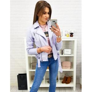 Krásna dámska svetlo fialová jarná bunda s opaskom a zipsom