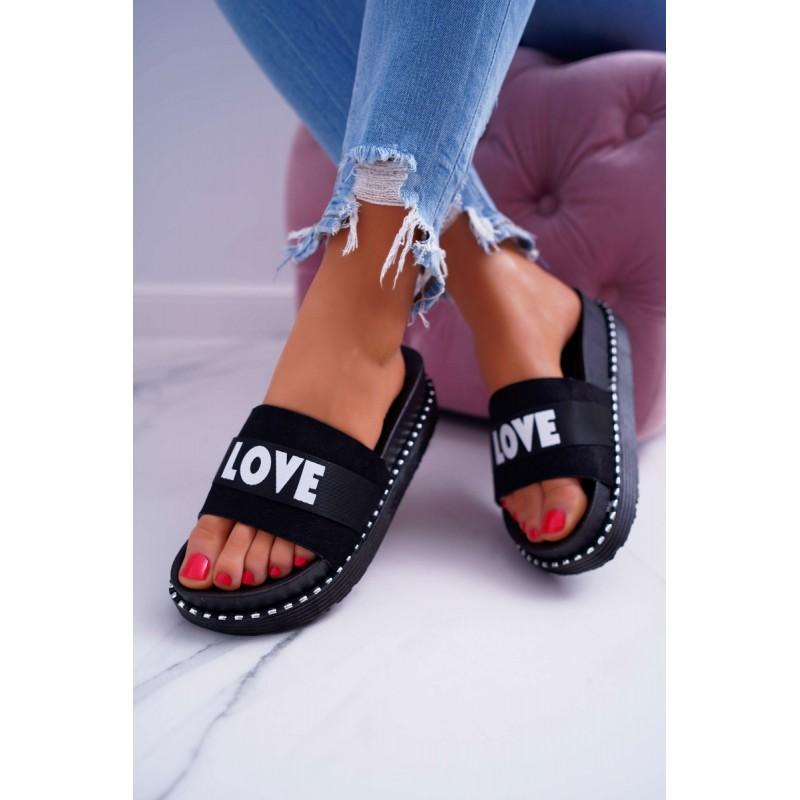 b7c5cd74cd97 Štýlové čierne dámske letné šľapky na platforme s nápisom LOVE