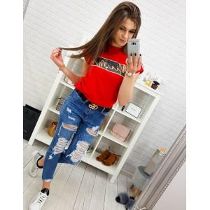 Štýlové červené dámske tričko s trendy nápis MIAMI