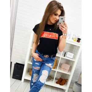 Čierne dámske tričko s krátkym rukávom a originálnym nápisom MIAMI