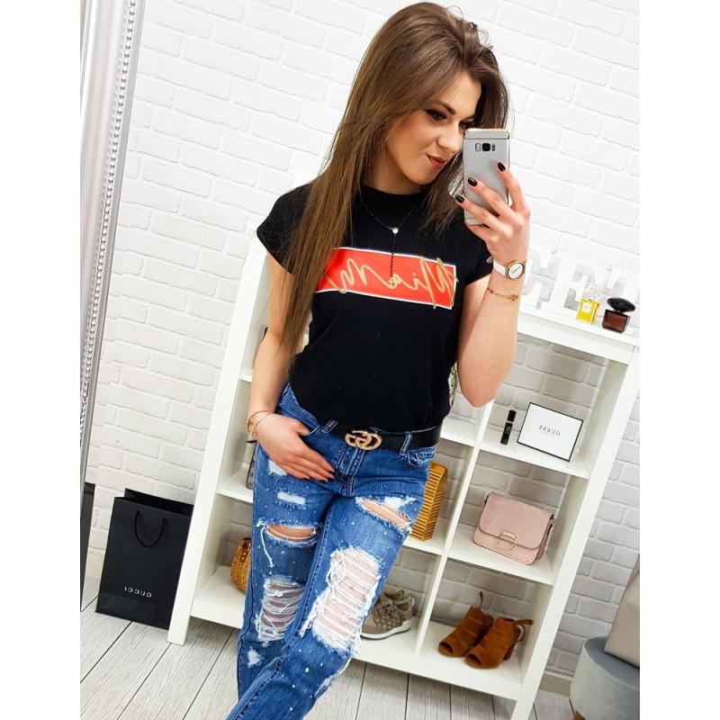 8f291fd957df Čierne dámske tričko s krátkym rukávom a originálnym nápisom MIAMI