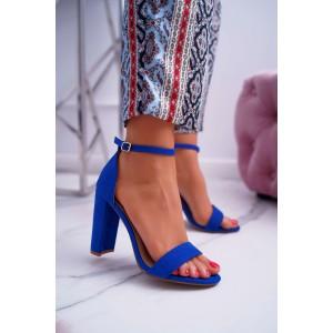 Dámske kráľovsky modré sandále s jemným remienkom a hrubom opätku