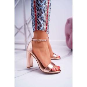 Elegantné dámske ružovo metalické sandále s remienkom okolo nohy