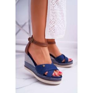 Dámske sandále modré na platforme koženkovým remienkom okolo nohy