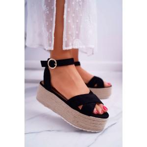 Čierne dámske semišové sandále na vysokej vrkočovej platforme