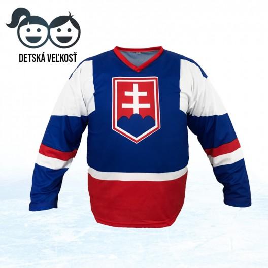 Detský hokejový dres v modrej farbe na MS 2019