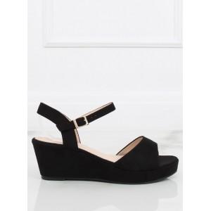 Čierne dámske sandále pohodlného strihu na platforme s viazaním