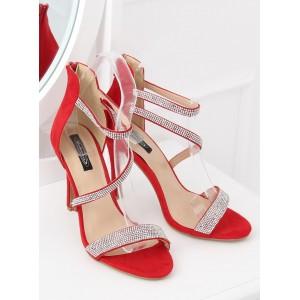Spoločenské dámske červené štrásové sandálky so zipsom