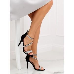Čierne štrásové sandále na vysokom opatku