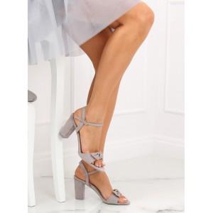 Spoločenské sivé dámske sandále na módnom opätku s ozdobnou mašľou