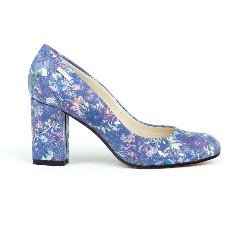 6447362663 Nádherné modré dámske kožené lodičky s potlačou kvetov