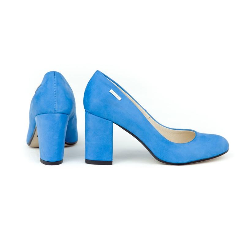 2f2c9e3f14 Luxusné dámske kožené zafírovo modré lodičky na módnom opätku