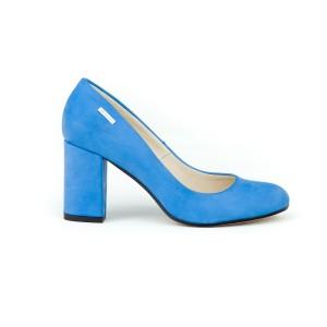 Luxusné dámske kožené zafírovo modré lodičky na módnom opätku