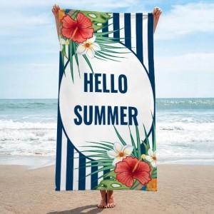 Modro biely uterák na pláž s nápisom