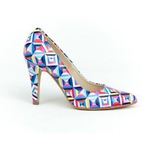 Štýlové dámske farebné kožené lodičky s potlačou geometrických tvarov