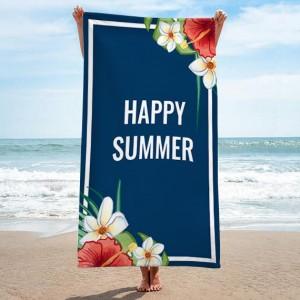 Uterák na pláž v modrej farbe s nápisom