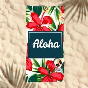 Plážový uterák s pozadím kvetov