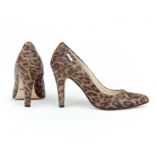 Dámske kožené leopardie dámske lodičky na vysokom opätku