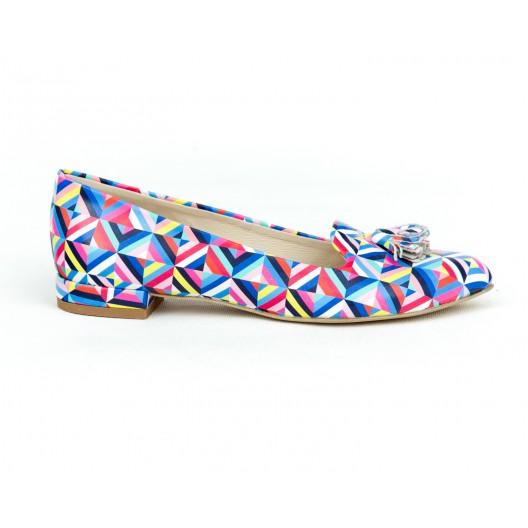Luxusné dámske farebné kožené balerínky s ozdobnými strapcami