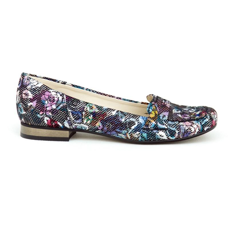 636f6382d2e4 Elegantné dámske čierne balerínky s ozdobnými kvetmi a na opätku
