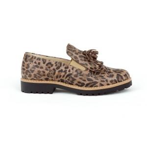 Dámske kožené poltopánky s leopardím vzorom nasúvacie