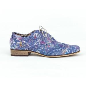 Elegantné dámske modré kožené poltopánky jazzovky s kvetmi a šnúrkami