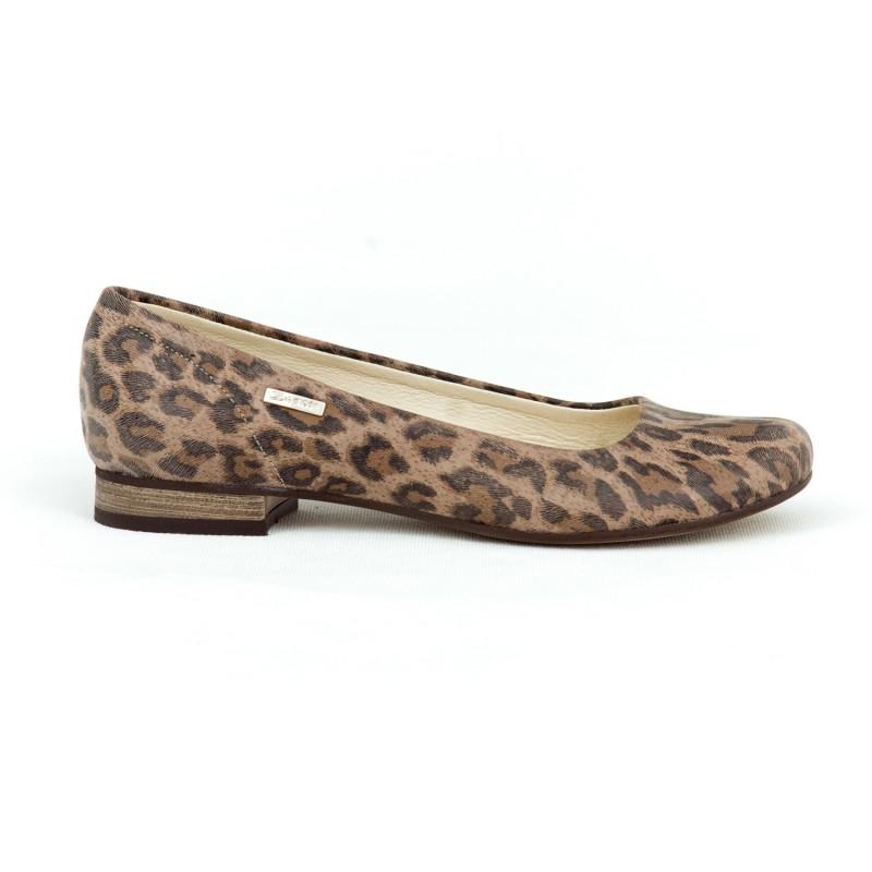 3fe37d101abc Dámske kožené baleríny s leopardím vzorom