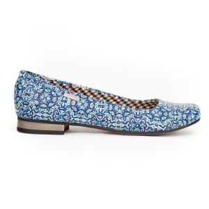 Modré dámske kožené baleríny s mozaikovým dizajnom