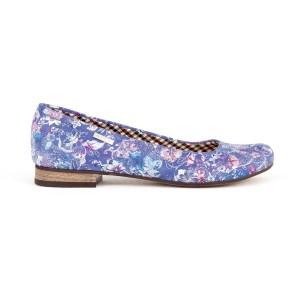Krásne kožené dámske balerínky fialovo modré s potlačou kvetov