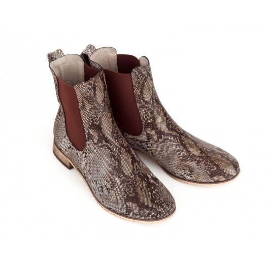 Originálne dámske kožené hnedé kotníkové topánky s hadím vzorom