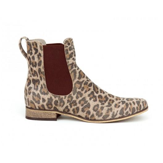 Extravagantné dámske kožené členkové topánky leopardie