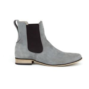 Moderné dámske kožené členkové topánky v sivej farbe s bočnou gumou