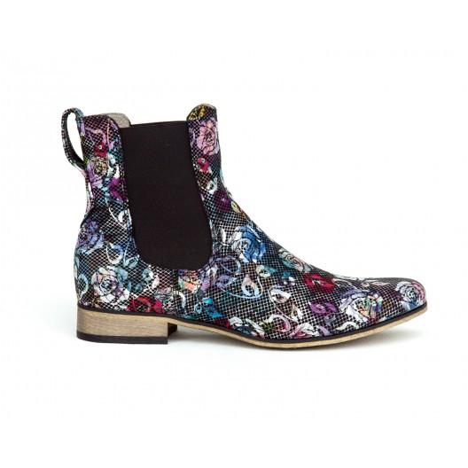 Luxusné dámske čierne kožené členkové topánky s potlačou kvetov