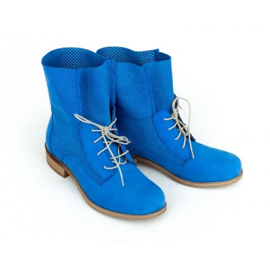 Športové zafírovo modré dámske kožené topánky na šnurovanie