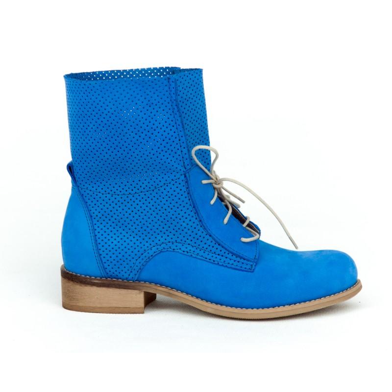 e46af18c5754 Športové zafírovo modré dámske kožené topánky na šnurovanie