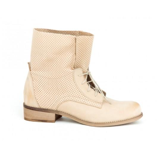 Originálne dámske béžové kožené topánky s trendy dizajnom šnurovania