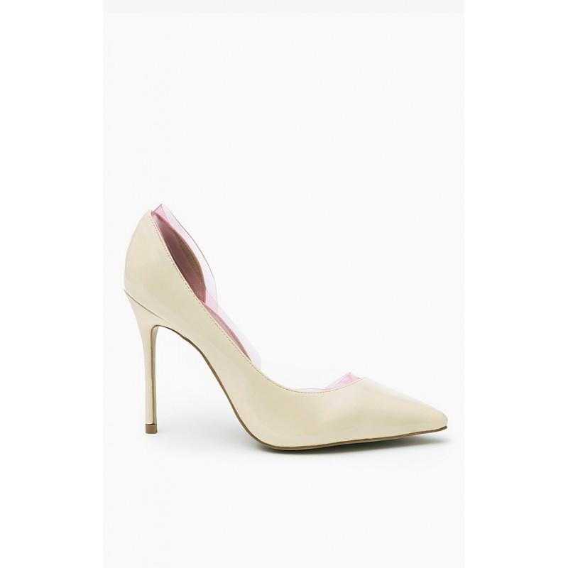 612768107d21 Dámska spoločenská obuv béžovej farby s ostrou špickou a vysokým ...