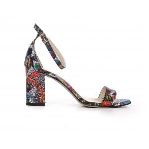 Dámske kožené farebné sandále s remienkom a módnym opätkom