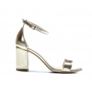 Luxusné dámske kožené sandále v zlatej farbe a vysokom opätku