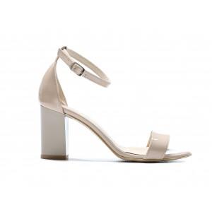 Bežové dámske kožené lakované sandálky na módnom plnom opätku